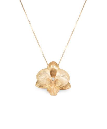 Golden Diamond Orchid Necklace